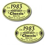 PAIR Distressed Aged Established 1983 Aged To Perfection Oval Design Vinyl Car Sticker 70x45mm Each